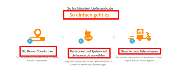 Screenshot website lieferando.de