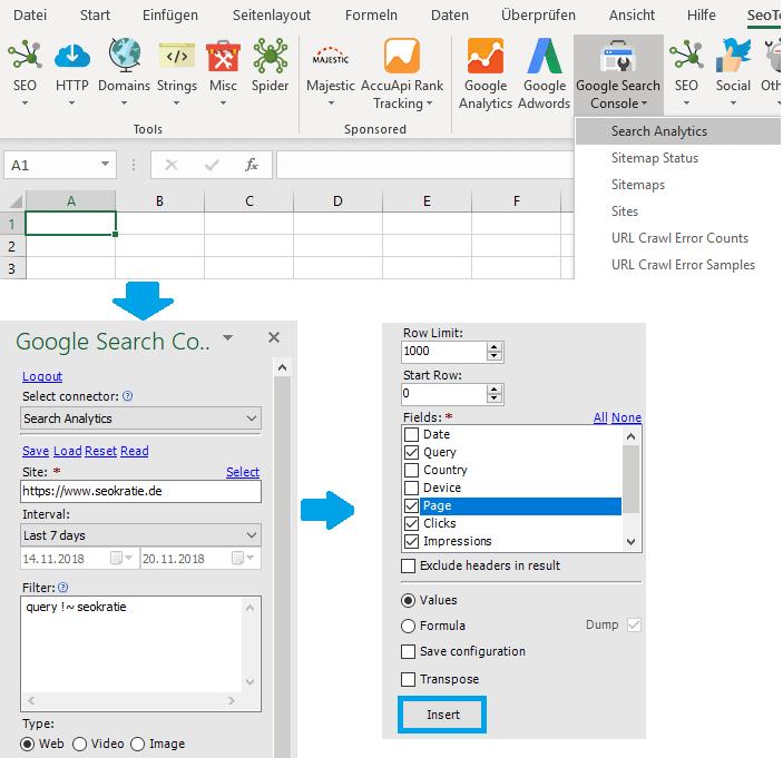 Beispiel API Zugang af die GSC via Seo Tools for Excel