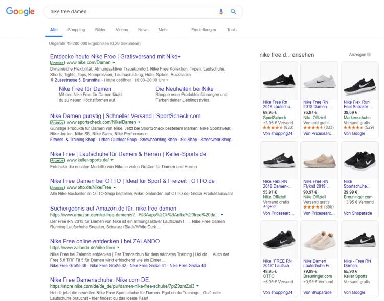 """Screenshot von Google Suchergebnissen, Suche nach """"nike free damen"""""""