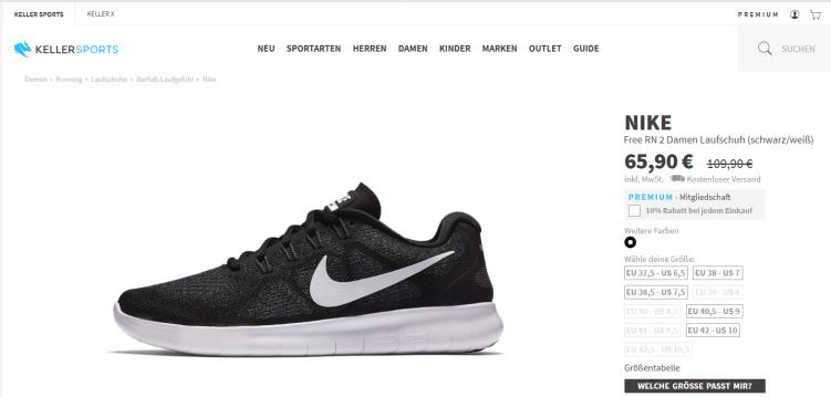 """Screenshot aus dem Online Shop von Keller Sports, Produktdetailseite des Schuhs """"Nike Free RN"""""""