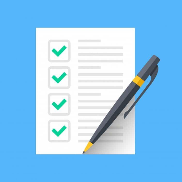 Grafik mit einer Papier-Liste zum Abhaken, ein Stift liegt darauf