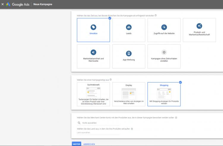 """Screenshot aus dem Google Ads Konto, wo die Kampagnenart """"Shopping"""" ausgewählt wird"""
