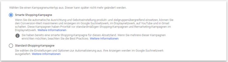 Screenshot aus dem Google Ads Konto zur Auswahl von Smart Shopping Unterkampagnenart.