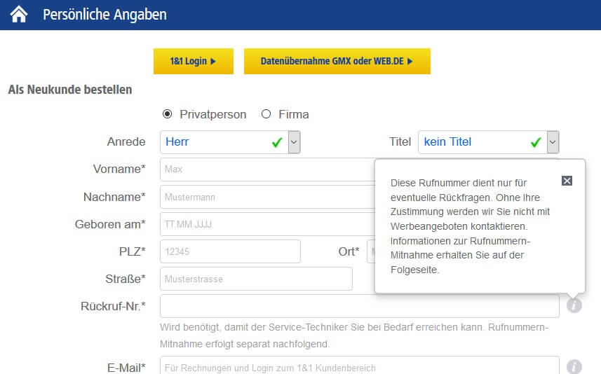 Web-Formular mit Zusatzinfos