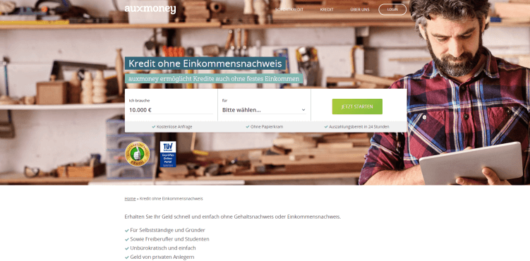 Screenshot auxmoney Kredit ohne Einkommensnachweis-Produktseite above the fold