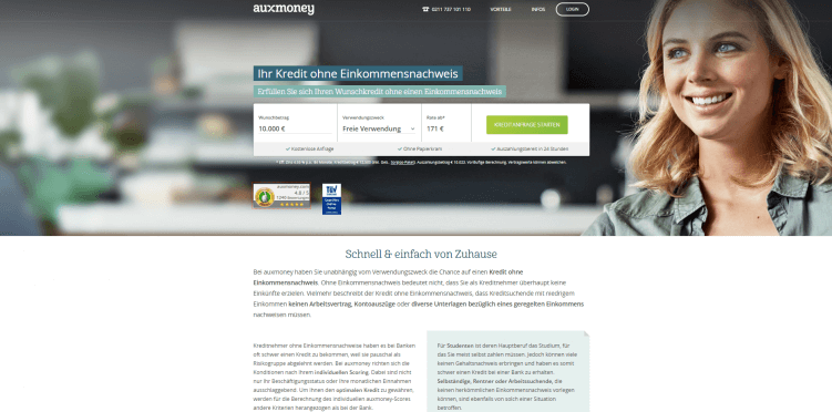 Screenshot auxmoney Kredit ohne Einkommensnachweis SEA-Zielseite