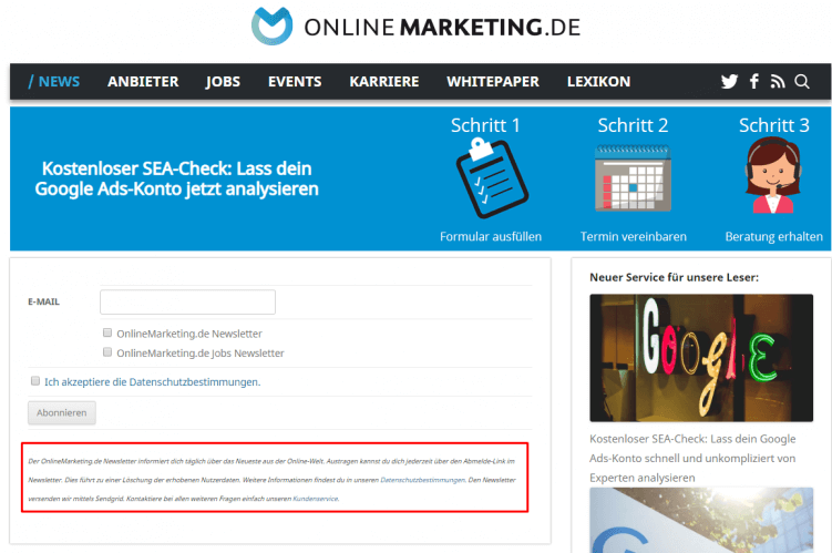 Screenshot Newsletter-Anmeldung Onlinemarketing.de