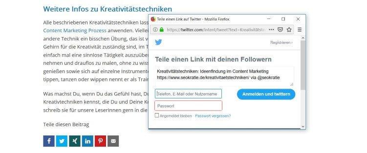 Mit einem Klick auf den Teilen-Button von Twitter wird automatisch eine Tweet-Vorlage erstellt, in der auch das Seokratie-Profil markiert wird.