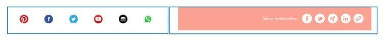 Typische Like- und Share-Buttons mit den Social Media Icons. Gefunden auf Otto.de.