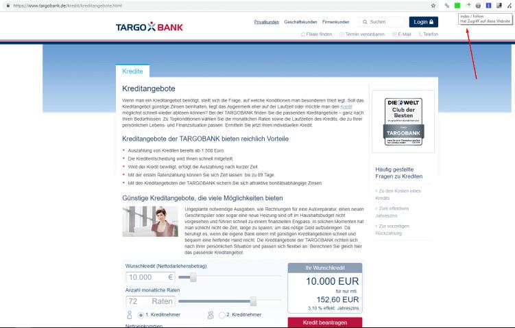 Screenshot SEO-Zielseite Targobank