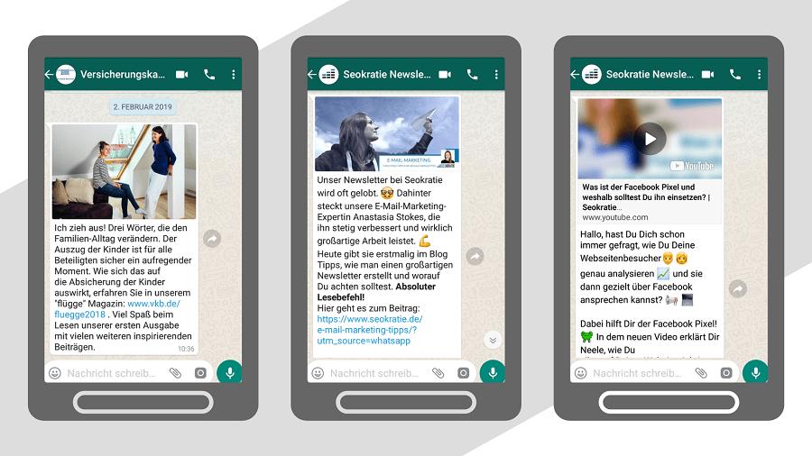 Beispiele für WhatsApp-Newsletter mit Content-Marketing-Inhalten