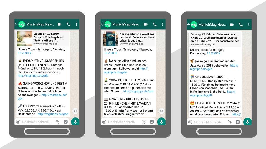 MunichMag als Beispiel für WhatsApp-Newsletter mit Events