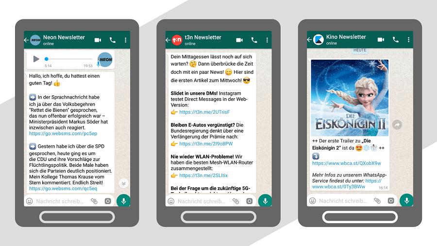 Beispiele für WhatsApp-Newsletter mit News