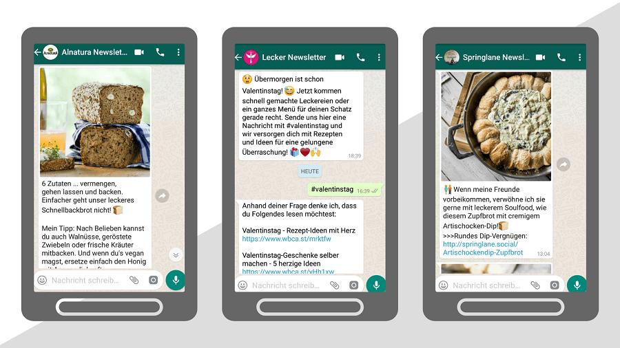 Beispiele für WhatsApp-Newsletter mit Rezepten