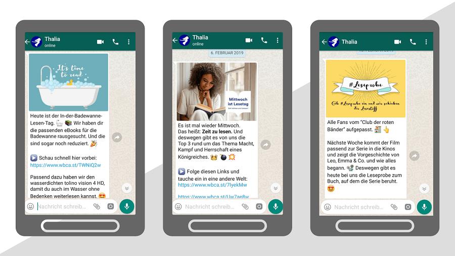 WhatsApp-Newsletter von Thalia als Beispiel für produktbezogenes Messenger Marketing