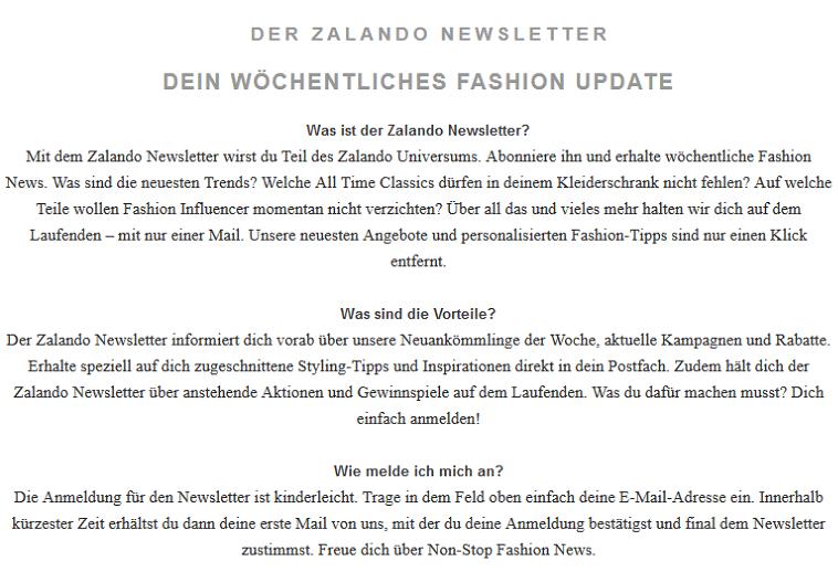 Anmeldung zum Newsletter bei Zalando