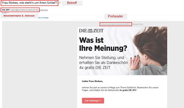 Screenshot eines ZEIT-Newsletters