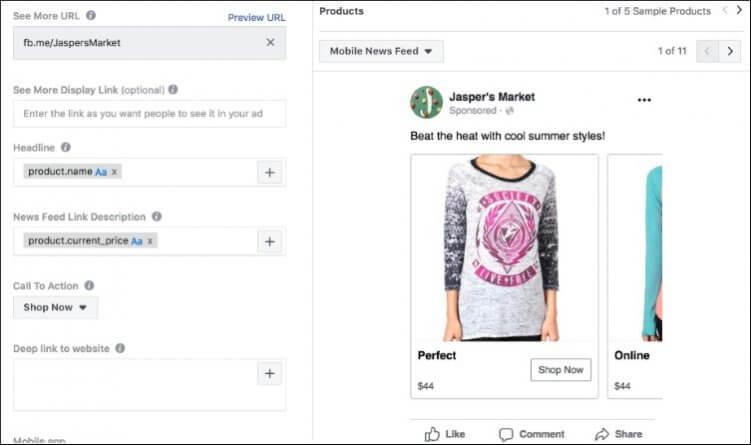 Zu 3.: Bei den Dynamic Product Ads werden die angezeigten Produkte automatisch von Facebook aus dem hinterlegten Katalog beziehungsweise der Produktpalette ausgewählt.