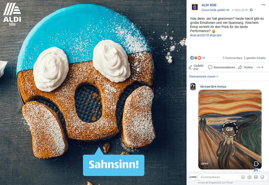 Facebook-Post ALDI SÜD Emoji-Kuchen