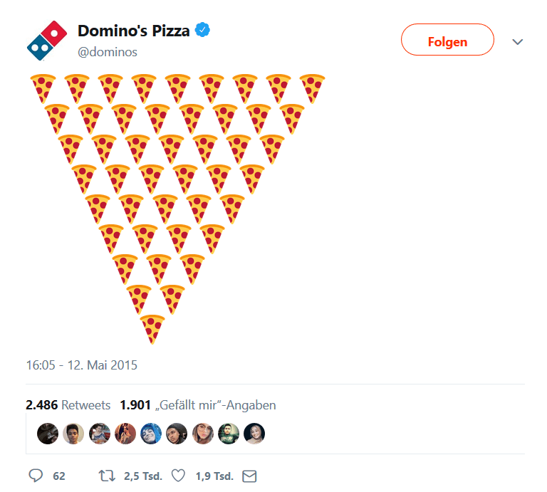 Domino's Pizza Twitter-Emoji-Kampagne Screenshot