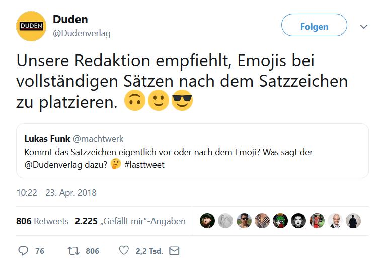 Screenshot Duden Twitter-Beitrag zu Emojis