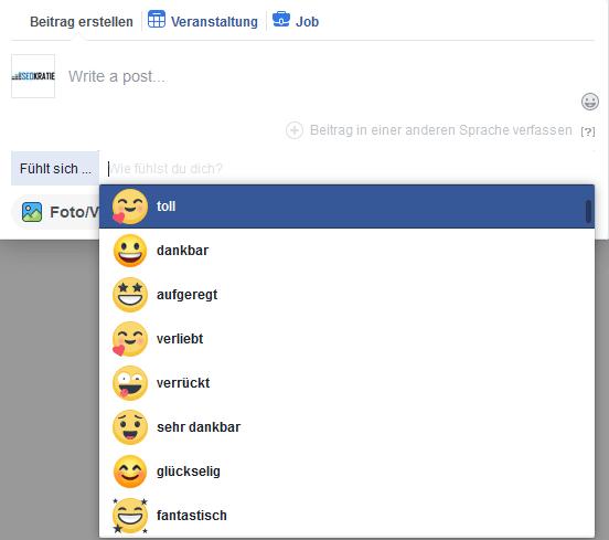 Facebook-Screenshot Gefühle/Aktivitäten