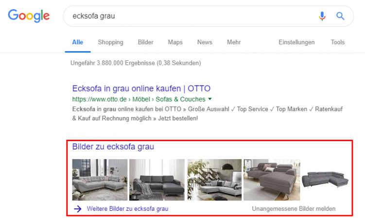Bilder in der Universal Search