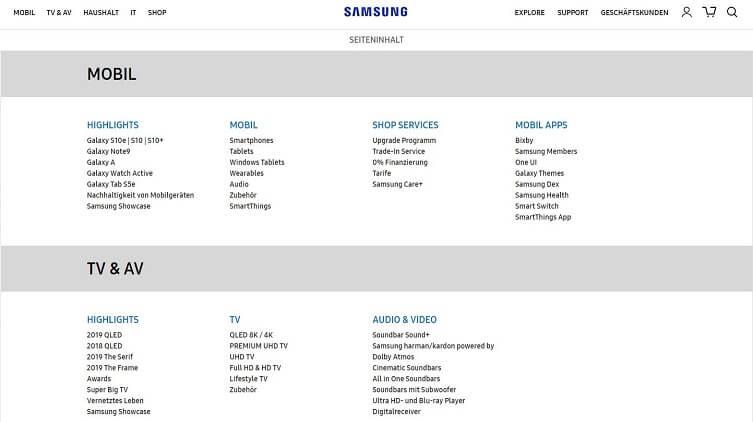 HTML-Sitemap von Samsung