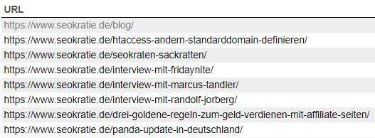 URLs in der XML-Sitemap von Seokratie