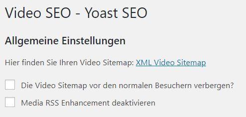 Video-Sitemap erstellen mit Yoast