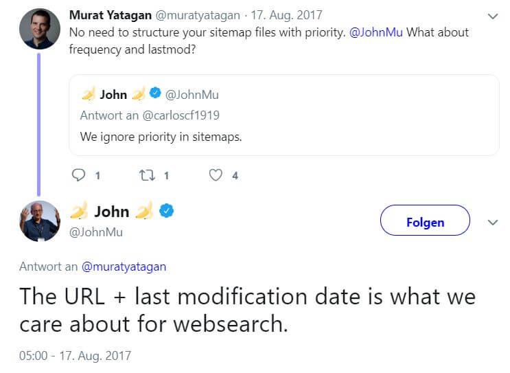 John Mueller Tweet über lastmod und URL