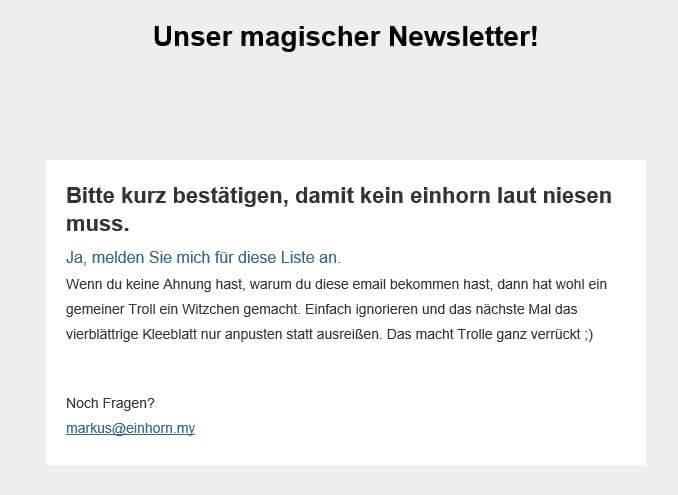Newsletter-Abonnenten gewinnen mit Bestätigungsmail