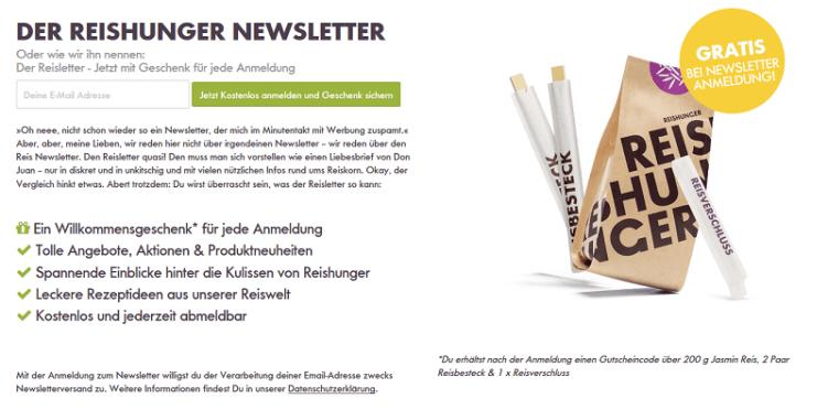 Newsletter-Anmeldung für Reisletter-Abonnenten