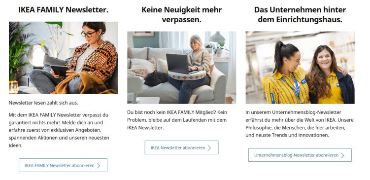 Newsletter mit unterschiedlichen Inhalten