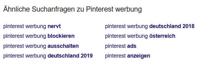 Ähnliche Suchanfragen zu Pinterest Werbung.