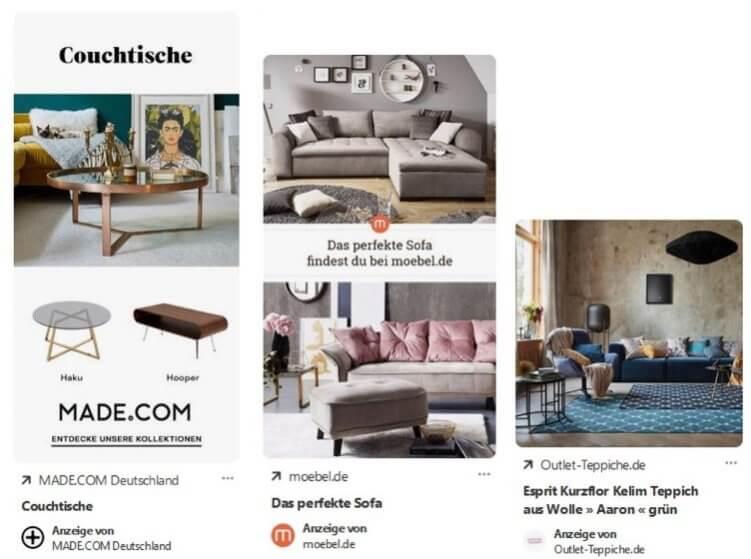 Beispiele für One-Klick-Ads: Beim Klick auf die Anzeige öffnet sich direkt die Webseite.