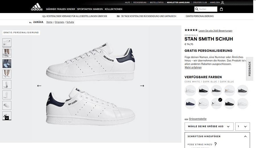 Produktseite Adidas mit USPs