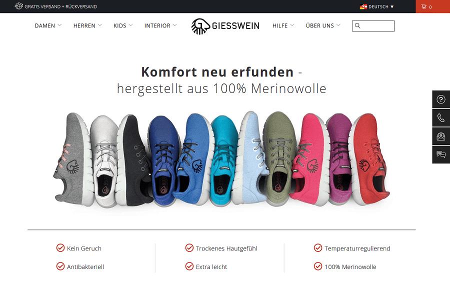 Alleinstellungsmerkmale Giesswein Online-Shop