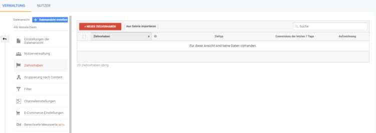 keine Zielvorhaben in Google Analyics