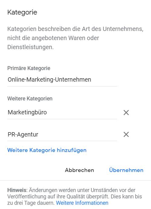 Kategorie anlegen Google My Business