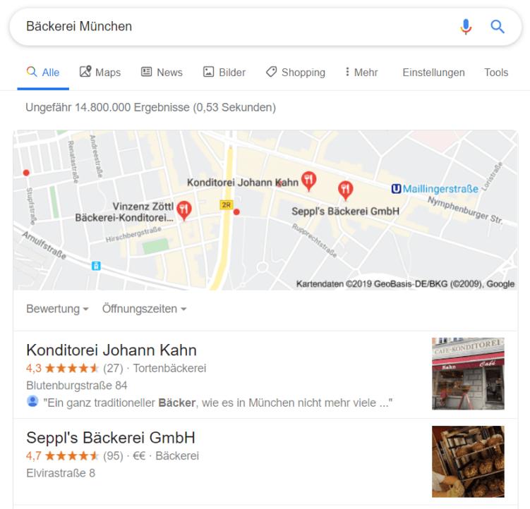 Lokale Suchergebnisse Bäckerei