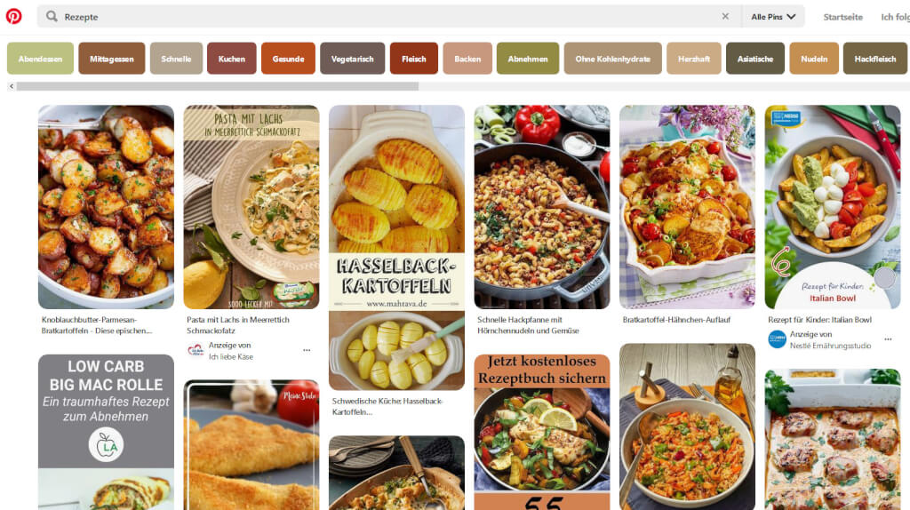 "Screenshot aus Pinterest für ""Rezepte"""