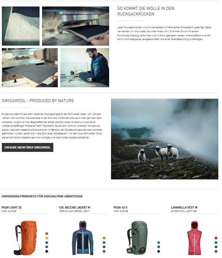 Produktverlinkung als Shoppable Content von Ortovox