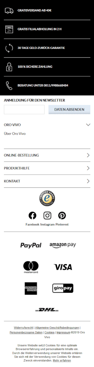 Footer auf mobiler Website