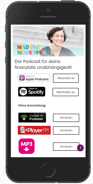 Podcast Landingpage mit Portalen des Podcasts
