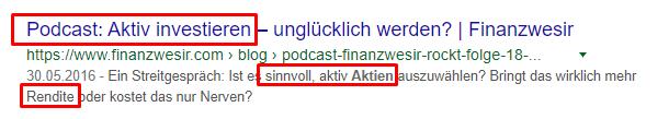 Snippet eines Podcasts bei Google