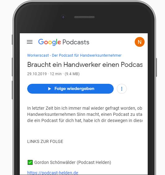 Google Podcasts aufgerufener Podcast