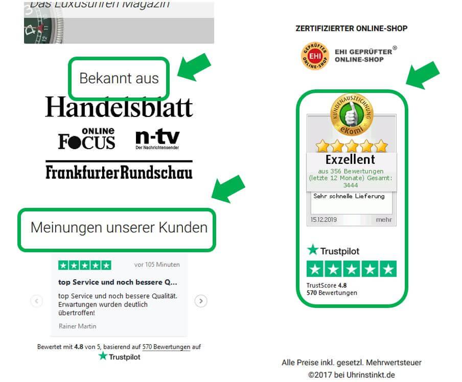 Kundenbewertungen mobile Startseite