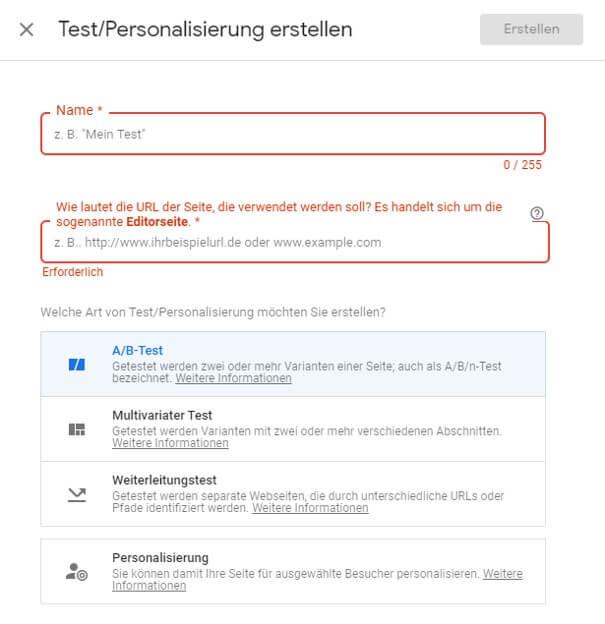 Test und Personalisierung in Google Optimize erstellen