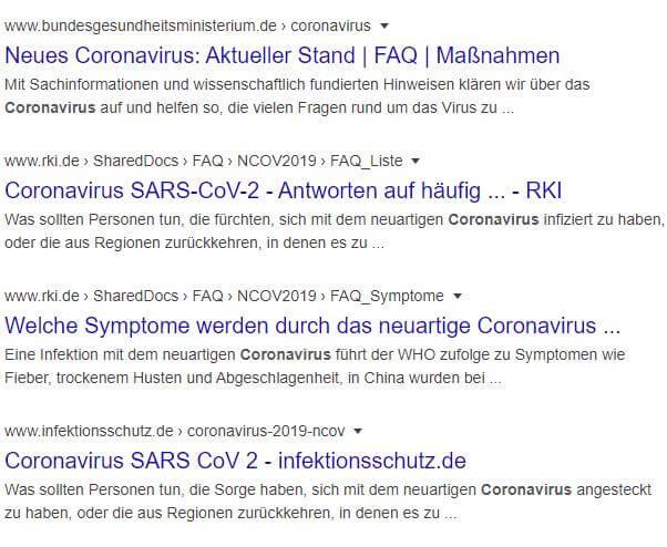 Die Google-Suchergebnisse zum Thema Coronavirus